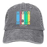 Bokueay Retro Cancún México Gorra de Mezclilla Deportiva Ajustable Snapback Unisex Llanura Sombrero de Vaquero de béisbol Estilo clásico
