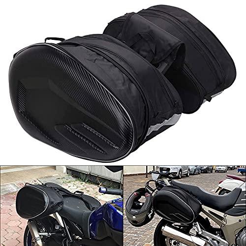 JFG RACING -Alforjas Moto, Alforjas para Motocicleta,Maletas Moto Laterales Impermeable para Viaje, 36 L - 58 L, Pareja Bolsas Side Capacidad Ampliable-Negro, 2 Unidades