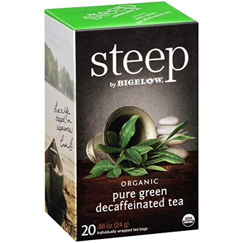 steep Organic Pure Green Decaf 20 Count Box (Pack of 6), Certified Organic, Gluten-Free, Kosher Tea in Foil-Wrapped Bags