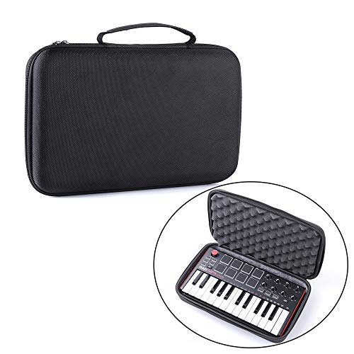 Ajcoflt Bolsa de armazenamento para teclado MIDI Bolsa de proteção rígida estojo de transporte compatível com controlador de teclado AKAI MPK MINI MK2