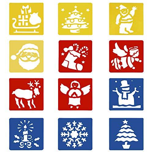 Navidad Plantillas Dibujo Niños, 12 Piezas Stencil Plantillas Plástico Pintura Plantillas para Manualidades, Scrapbooking, Diario,Pintura, DIY Decoración de Navidad