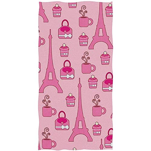 Candi-Shop Paris Eiffel Tower Cup Cake Coffee Suitcase On Pink Toalla de baño Suave Toallas de Mano absorbentes 27.5 * 15.7in
