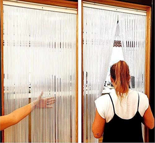 EB ESTORES BARATOS Cortina Mosquitera Puerta Exterior/Cortinas de plástico para Puertas Exteriores/Transparentes y de Colores. Ajuste Medida Ancho X Alto. Color: Opaca. Medidas: 120cm x 230cm