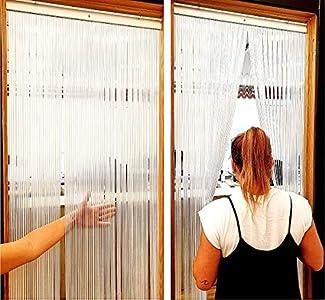 EB ESTORES BARATOS Cortina Mosquitera Puerta Exterior/Cortinas de plástico para Puertas Exteriores/Transparentes y de Colores. Ajuste Medida Ancho X Alto. Color: Cristal. Medidas: 74cm x 190cm
