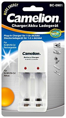 Camelion 20000901 Stecker Ladegerät (NiMH Akkus AA, Mignon, AAA, Micro, geeignet für 1 - 2 NiCD)