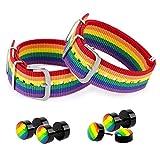 2PCS Bracelets LGBT Réglable en Nylon + 2 Paires Boucles d'Oreilles Arc-en-ciel Bijoux Couple Unisexe pour Fête Fierté La Saint-Valentin Bisexuel