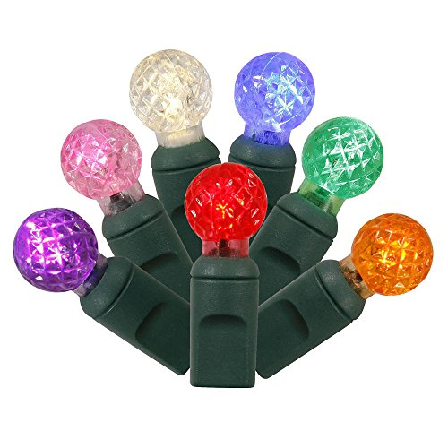 Vickerman 100 Count Single Mold G12 Berry LED Light Set with Green Wire, Multicolor