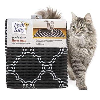 Fresh Kitty Durable XL Jumbo Foam Litter Box Mat – No Phthalate Water Resistant Traps Litter from Box Scatter Control Easy Clean Mats – Black & White 40 x 25  Black/White Quatrefoil  9036
