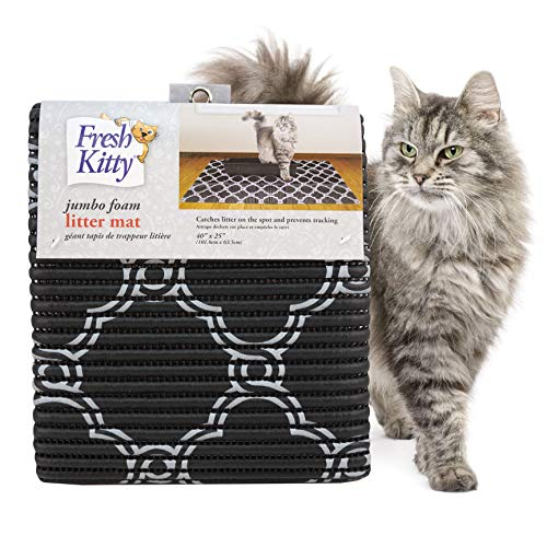 Fresh Kitty Durable XL Jumbo Foam Litter Box Mat – No Phthalate, Water Resistant, Traps Litter from Box, Scatter Control, Easy Clean Mats – Black...