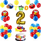 PANTIDE 42Pcs Sesame Birthday Party Decorations Kit - 2nd Elmo Balloons Photo Prop, Sesame Twodles Cake Topper, Elmo Monster Banner, Great Sesame Theme Party Supplies for Two Year Old Kids