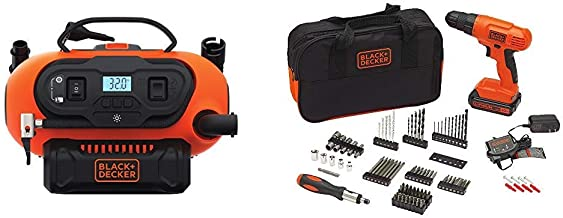 BLACK+DECKER BDINF20C 20V Lithium Cordless Multi-Purpose Inflator (Tool Only) with BLACK+DECKER BDC120VA100 Cordless Project Kit with 100 Accessories