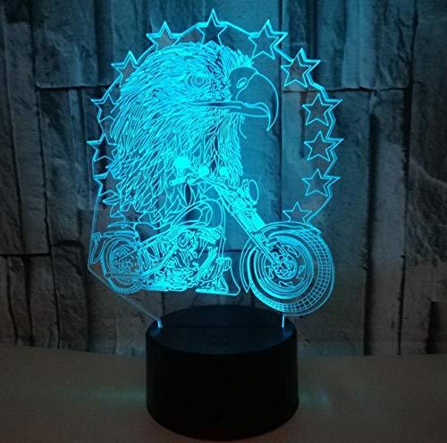 Control remoto 3D luz nocturna animal águila motocicleta colorida luz de control remoto acrílico luz estéreo visual táctil base negra luz nocturna con control remoto lámpara de mesa USB