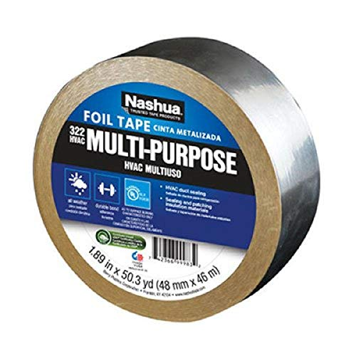Nashua 322 HVAC Multi-Purpose Foil Tape, 46m Length, 48 mm Width, Aluminum
