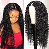 UNice Hair U Part Wig Afro Kinky Curly Human Hair Wigs,Brazilian Virgin Hair 150% Density Natural Black Glueless Full Head Clip in Wig U Shape Wig for Women(22Inch)
