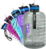 QuiFit Drinkfles van 2,2 liter, met opdruk: drinkstimulatie en flipstro, grote drinkfles, fitness, gym, onderweg joggen,...