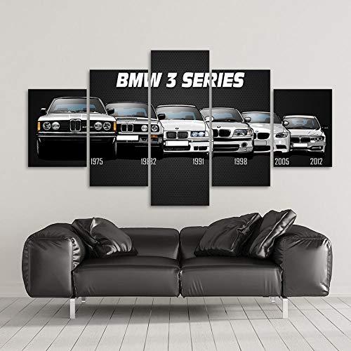 ZGZART Cartel Impreso en Lienzo decoración del hogar 5 Piezas HD BMW M3 M5 Pinturas de Coches Deportivos Blancos Cuadros de Arte de Pared Sala de Estar Modular -30x40 30x60 30x80cm (Sin Marco)