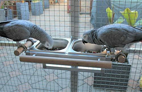 Papageien Freisitz Vögel Futternapf Futterbar Futterschale Edelstahl ZINKFREI