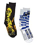 Star Wars R2-D2 C-3PO 2 Pair Pack Crew Socks (Shoe Size 6-12, R2-D2/C-3PO)