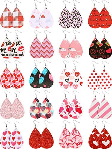 20 Pairs Valentine s Day Faux Leather Earrings Heart Pattern Printed Leaf Teardrop Dangle Earrings product image