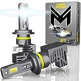 Mega Racer H7 Wireless LED Headlight Bulbs - Daylight White 6500K 50 Watt 12000 Lumens ZES CSP Chip 360 Degree Coverage IP68 Waterproof Rating, 1 Pair