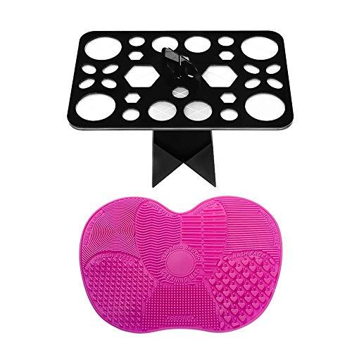 BYBOT Organizador de brochas de maquillaje con 28 agujeros, torre de aire, soporte plegable para brochas con alfombrilla de limpieza portátil para brochas de maquillaje