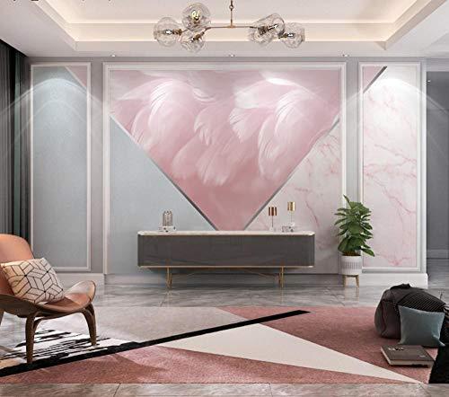 FHOMEY Tapete Wandbild 3D Tv Wandmalerei Wohnzimmer Feder Geometrische Marmor Collage Hintergrund Tapeten Wandverkleidung Home Decoration-350 * 245 Cm