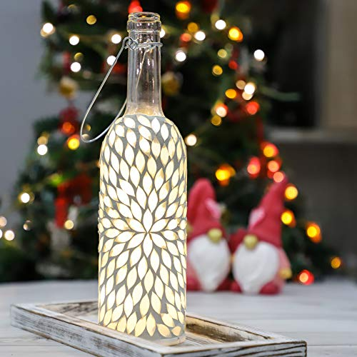 Wall Decor Hanging Fairy Lights, 20LED Battery Operated Wine Bottle Lights, White Bottle Handmade Mosaic Design for Farmhouse, Country, Bar, Christmas, Wedding Home Decoration(1 Pack)