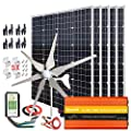 1000W Solar & Wind Power Kits Home Off-Grid System for Charging 12V Battery?400W Wind Turbine Generator + 600W Mono Solar Panel + Hybrid Charge Controller+ 1000W 12V Inverter+Accessory