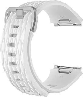 [ホワイト] Fitbit Ionic フィットビット アイオニック Dragon scale silicone belt ドラゴン スケール シリコン ベルト スポーツ シリコン ひし形 菱形 軽量 軽い ベルト バンド ベルト 交換バンド ...