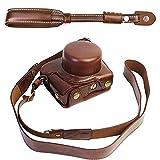 First2savvv XJD-J5-HH10S10 marron oscuro Calidad premium Funda Cámara cuero de la PU cámara digital bolsa caso cubierta con correa para Nikon 1 J5 con lente 10-30mm + Correa de la camara