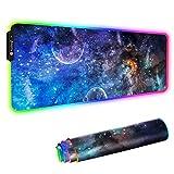RGB Gaming Mauspad Groß 7 LED Farben 14 Beleuchtungs-Modi Gaming Mouse Mat Rutschfester Gummibasis und Wasserdichter Oberfläche Tastatur Mouse Pad für Computer, PC, Schreibtisch