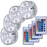 ✔ Remote controled submersible led lights:24 keys IR remote 16 different colors, 4 dynamic color changing. ✔ Reusable and wireless submersible led lights: Operated by 3 x AAA batteries (not included) last 10-12 hours and easy to replace when the batt...