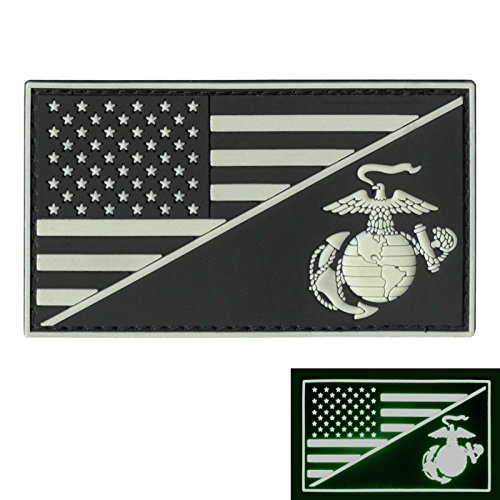 LEGEEON US Marines Glow Dark USMC USA American Flag Semper Fidelis GITD Morale PVC Rubber Hook-and-Loop