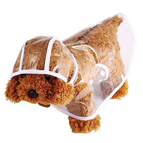 GLOGLOW huisdier regenjas,5 maten waterdichte transparante jas kat hond kap poncho outdoor kleding(M)