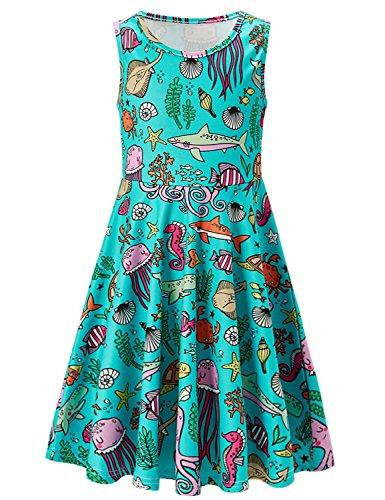 Aquatic Sea Creatures Ocean World Pattern Girls Sleeveless Dress 3D Print Green Summer Dress Casual Swing Birthday Party Sundress Kids Twirly Skirt, Sea Creatures, 6-7 Years Old