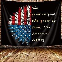 FJTP 壁タペストリー ヒマワリ アメリカ国旗 農家の花 おしゃれなタペストリー 壁 Haning 大学 寮 家の装飾