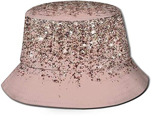DUTRIX Blush Pink Rose Gold Print Bucket Hat Fisherman Fishing Sun Cap for Women Travel
