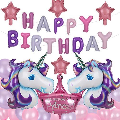 Herefun Decoraciones de Fiesta de Unicornio, Feliz Cumpleaños Ballon Banner, Unicornio Aluminio Globo Látex Fiesta en Globo Decoración Niños Niñas (51Pcs)