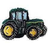 DATOU Kits De Tapicería Cierre De Gancho Kits De Alfombras De Alfombras Bordado De Costura DIY Alfombras para Niños/Adultos Tractor Verde(Size:52x38cm)