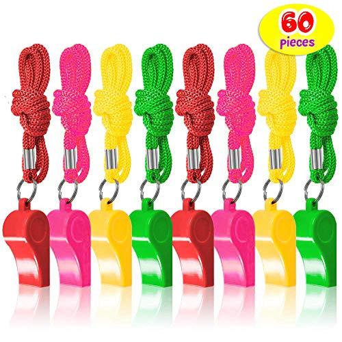 60 Plastic Neon Fluitjes met Nylon Gevlochten Koord – Verjaardag Goodiebags Cadeautjes Vulling Pinata Kinderen Voetbal Scheidsrechter Sportfluitje Prijzen School Sportactiviteiten