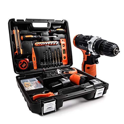 LETTON Werkzeugkoffer 24PCS DE Akku-Bohrschrauber, 16.8V Akkuschrauberset mit 2 Li-Ion Akkus 1500mAh, 48-teiliges DIY Haushaltswerkzeug-Kit Werkzeugkoffer mit Schlagbohrmaschinen