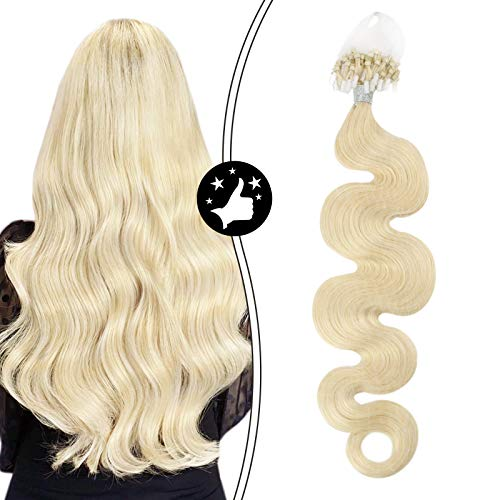 Moresoo 16 Inch Micro Link Natural Human Hair Extension Human Hair Color #60 Platinum Blonde Micro Remy Hair Extension Invisible Beads Body Wave Human Hair 50g Per Pack…