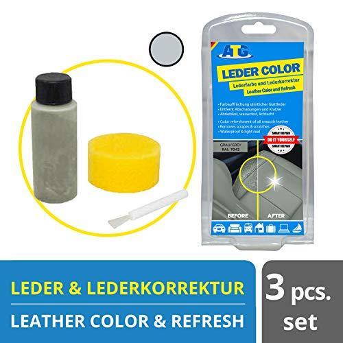 ATG Autozubehör-Teile-Gerl Leder aufbereiter | Ledercolor | entfernt Kratzer auf Ledercouch | Leder Farbe Set Sofa mit Schwamm und Pinsel Grau
