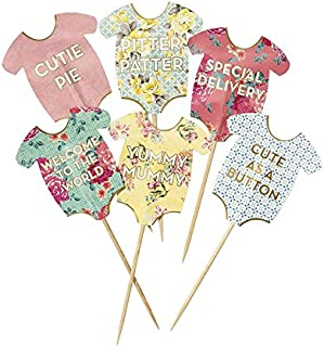 Talking Tables Truly Scrumptious Baby Grow Cake Toppers for a Baby Shower, Multicolor (24 Pack)