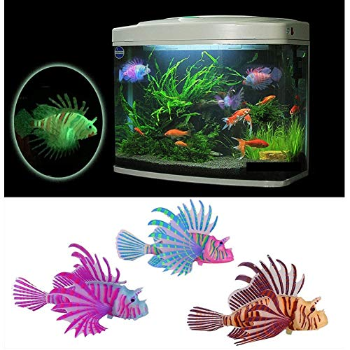 Stock Show 3Pcs Aquarium Artificial Colorful Glowing Fish Silicone Lionfish Floating Decorations Ornaments for Fish Tank Ornaments(Aquarium Not Included!)