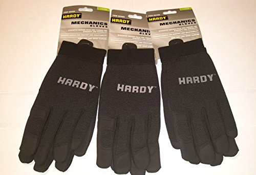 3 Pair Of Work Synthetic Leather/Spandex Mechanics' Gloves (Large)