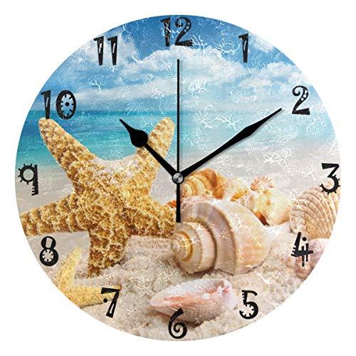 BEUSS Arte Shell Playa Reloj de Pared Silencioso Decorativo Madera Vintage Relojs para Dormitorio Hogar Oficina Escuela Decoración