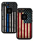 Teleskins Protective Designer Vinyl Skin Decals Compatible with Lifeproof Fre iPhone 7 / iPhone 8 / SE 2020 Case - Thin Blue Line USA Police Flag and Grunge USA American Flag [Pack of 2 Skins]
