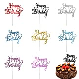 Trounistro Happy Birthday Cake Toppers, 40 pieces Cake Toppers Glitter Cardstock Topper letters'happy birthday' , For Your Friends And Family, Party Decorations - Eight color