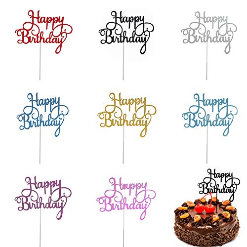 Trounistro Happy Birthday Cake Toppers, 40 pieces Cake Toppers Glitter Cardstock Topper lettershappy birthday , For Your Friends And Family, Party Decorations - Eight color